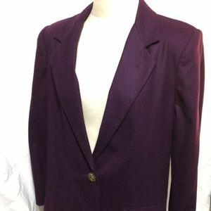 vtg Sag Harbor Wool Blazer Jacket Plum Purple Wome